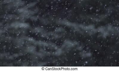 Snow Flurry - Slow Motion and Trees - Snowfall in slow...