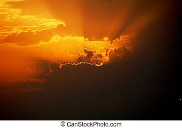 美麗, 傍晚, 戲劇性, 天空