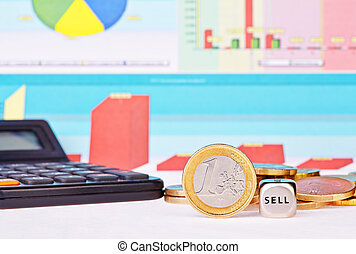 Dices cube with the word  SELL, one-euro coin, calculator  and financial diagrams as background. Selective focus