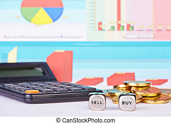 Dices cubes with the words BUY SELL, golden coins, calculator and financial diagrams as background. Selective focus