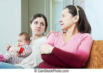 adult daughter with baby tries reconcile with mother - adult...