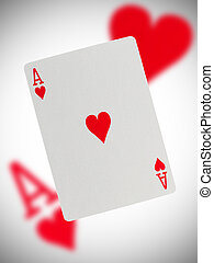 Playing card, ace of hearts - Playing card with a blurry...