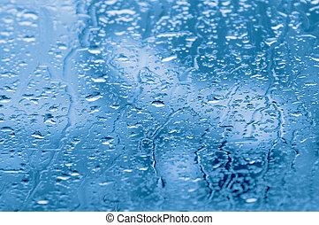 Rain drops on a window of car