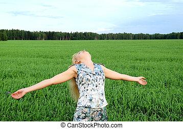 happy girl enjoying outdoors