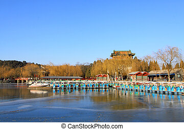 lake and mountain scenery in winter, in the Summer Palace -...