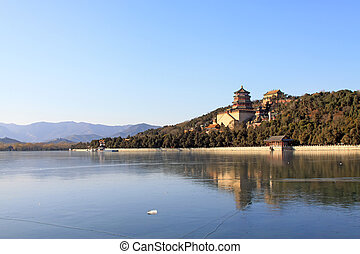 Tower of Buddhist incense and frozen Kunming lake - The...