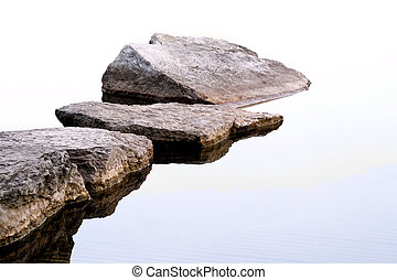 Stepping Stones - Flat rocks going out into the lake...