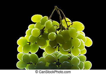 bunch of grapes isolated on black background