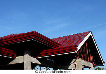 Rooftop - Maroon colored rooftop of a newly built clubhouse...