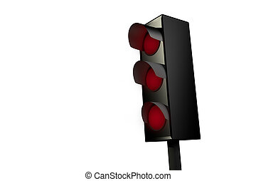 Red traffic light isolated on whit