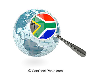 Magnified flag of south africa with blue globe isolated on...