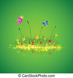 Green Grass with Butterfly