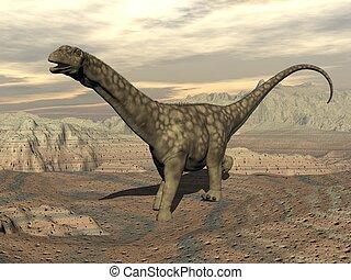Argentinosaurus dinosaur walk - 3D render - Big...