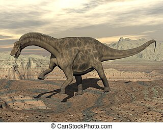 Dicraeosaurus dinosaur walking - 3D render - Big...