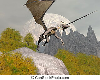 Dragon leaving - 3D render - Dragon taking off from a rock...