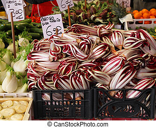 Radicchio - Fresh pile of organic radicchio on vegetable...
