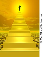 Ascension to heaven - 3D render - Shadow of a man ascending...