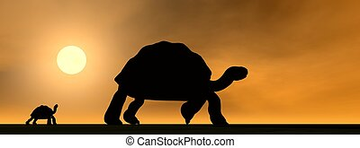 Galapagos tortoises mum and child - 3D render - Shadows of...