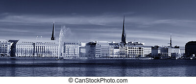 Toned Alster Panorama - Toned black and white image of the...