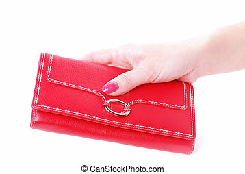 hand with purse feminine red 2 on white background