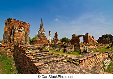 Ancient temple, Wat Mahathat, in Ayutthaya province,...