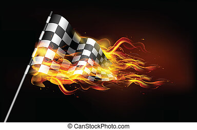 Fiery Race Flag - illustration of fire flame in race flag