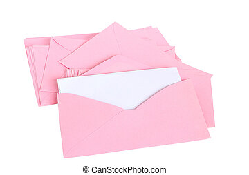 Pink envelope. on  white background
