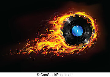 Hot Music - illustration of disc in fire flame for sizzling...