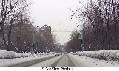 Typical street in Novosibirsk - Front view of city streets...