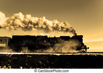 Old retro steam train - Vintage steam train puffing through...
