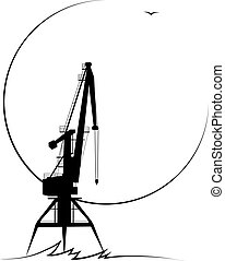 port crane - Silhouette of the stylized port crane in black...