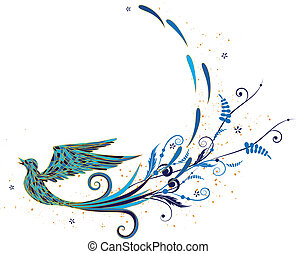 blue bird - vector background with stylized blue bird and...