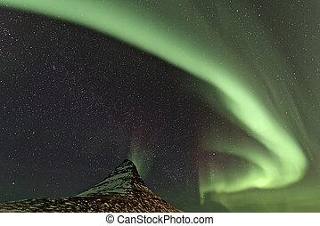 Aurora Borealis and Kirkjufell mountain