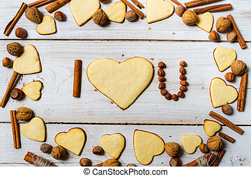 """I love you"" sentence arranged with cookies and nuts no. 9"