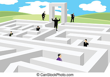 Business concept - A vector illustration of a group of...