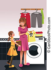 Mother daughter doing laundry - A vector illustration of...
