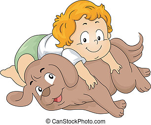 Toddler Boy with Dog - Illustration of a Toddler Boy...