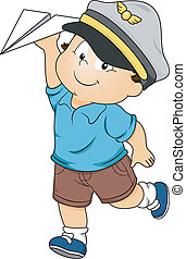 Toddler Boy Pilot - Illustration of a Happy Toddler Boy...