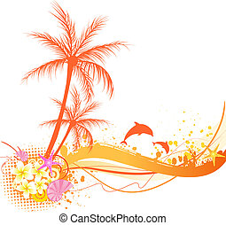 Abstract palm tree with ocean elements - seashells,...