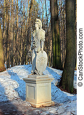 """Sculpture """"Minerva"""" at the State Historical and Architectural Museum-Reserve """"Tsaritsyno"""" Moscow."""