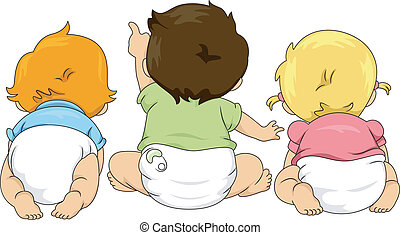 Back View of Toddlers Looking Up - Illustration of Back View...