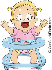 Toddler Girl in Baby Walker - Illustration of Happy Toddler...