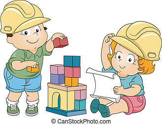 Boy and Girl Toddler Engineers - Illustration of Boy and...
