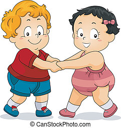 Boy and Girl Toddler Holding Hands - Illustration of Boy and...