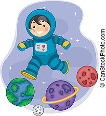Astronaut Boy Jumping on Planets - Illustration of an...