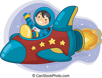 Astronaut Boy Riding a Space Ship - Illustration of an...