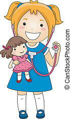 Little Girl Doctor - Illustration of a Little Girl playing...