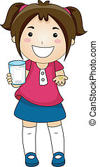 Girl Showing Tablet Vitamins with a Glas of Water -...