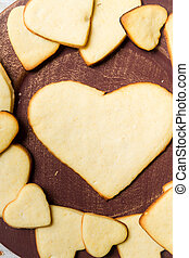 Heart-shaped cookies arranged on a plate no. 9