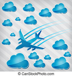 airplane in the air with blue clouds on a striped background